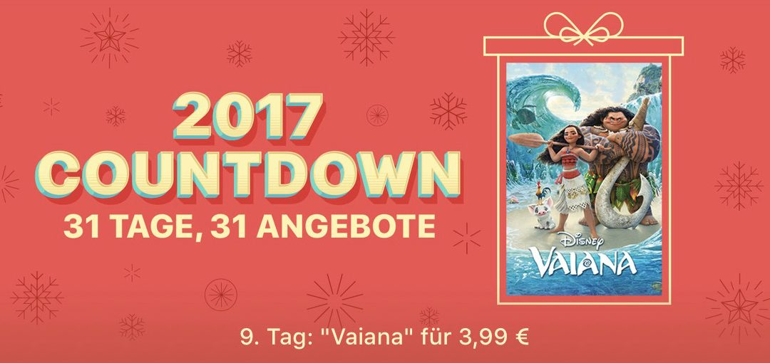 "31 Tage, 31 Angebote: 9. Tag – Film ""Vaiana"" für 3,99€"