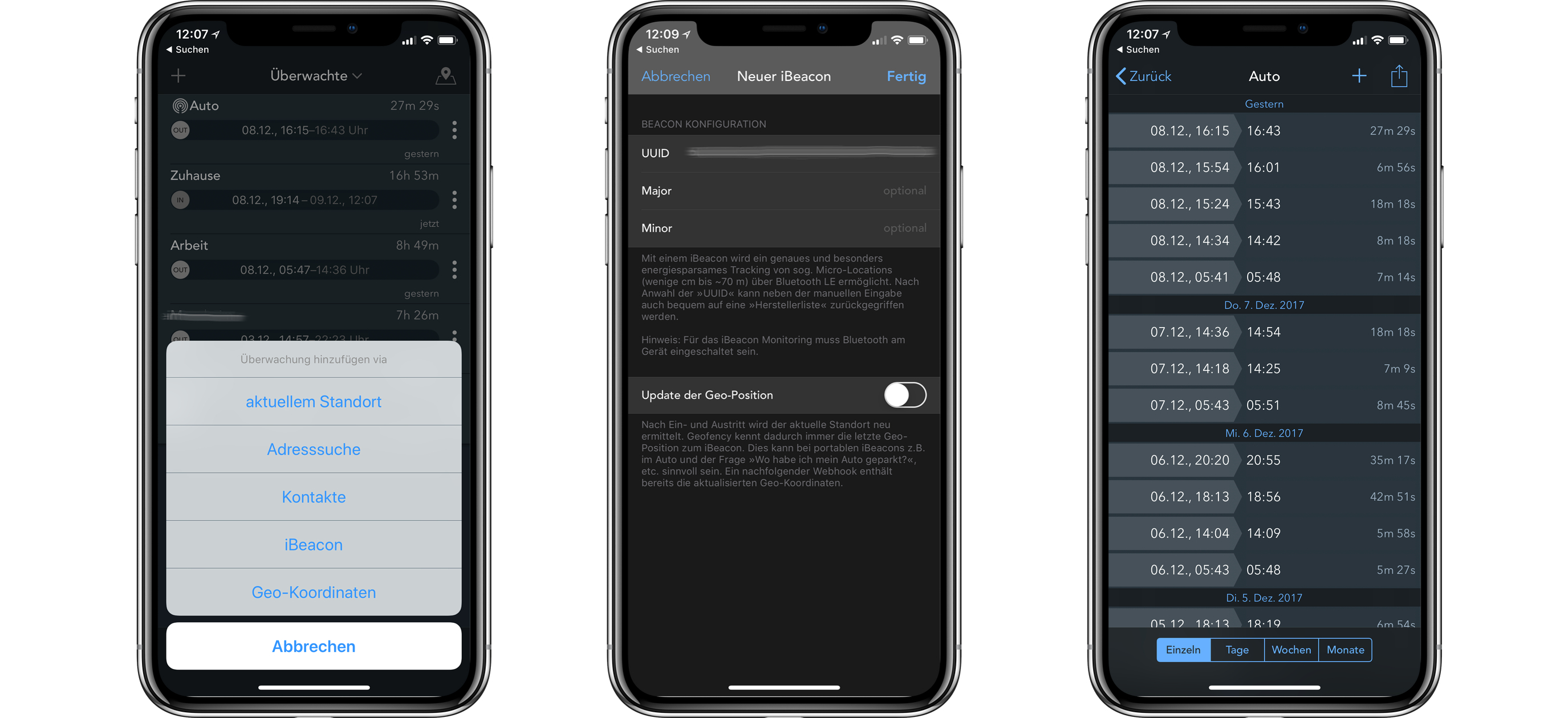 Geofency-iBeacons-iOS-Screenshot iBeacon als Microlocation für Orts- und Zeiterfassung nutzen - so geht's