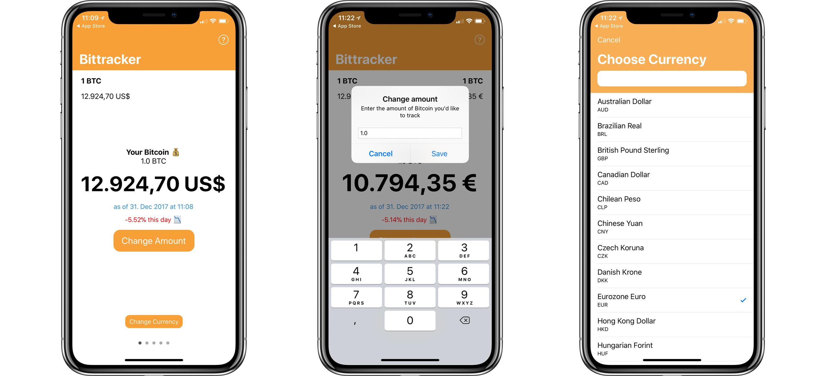 iOS-Screenshot-Bittracker Bittracker - behalte den Kurs und Wert von Kryptowährungen ganz genau im Auge