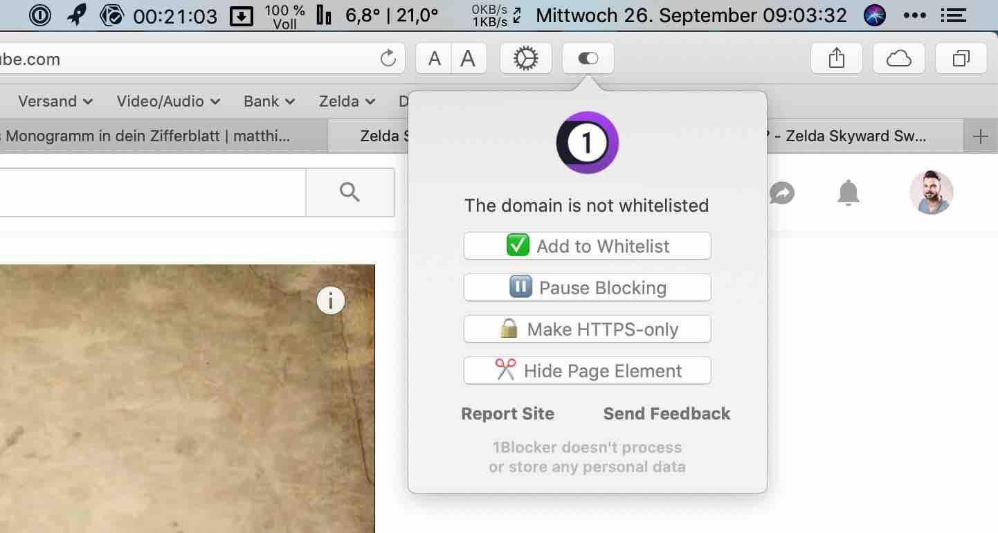 1Blocker_Safari_macOS_Mojave3 1Blocker für Safari unter macOS - lässt Werbung bei YouTube und im Web verschwinden
