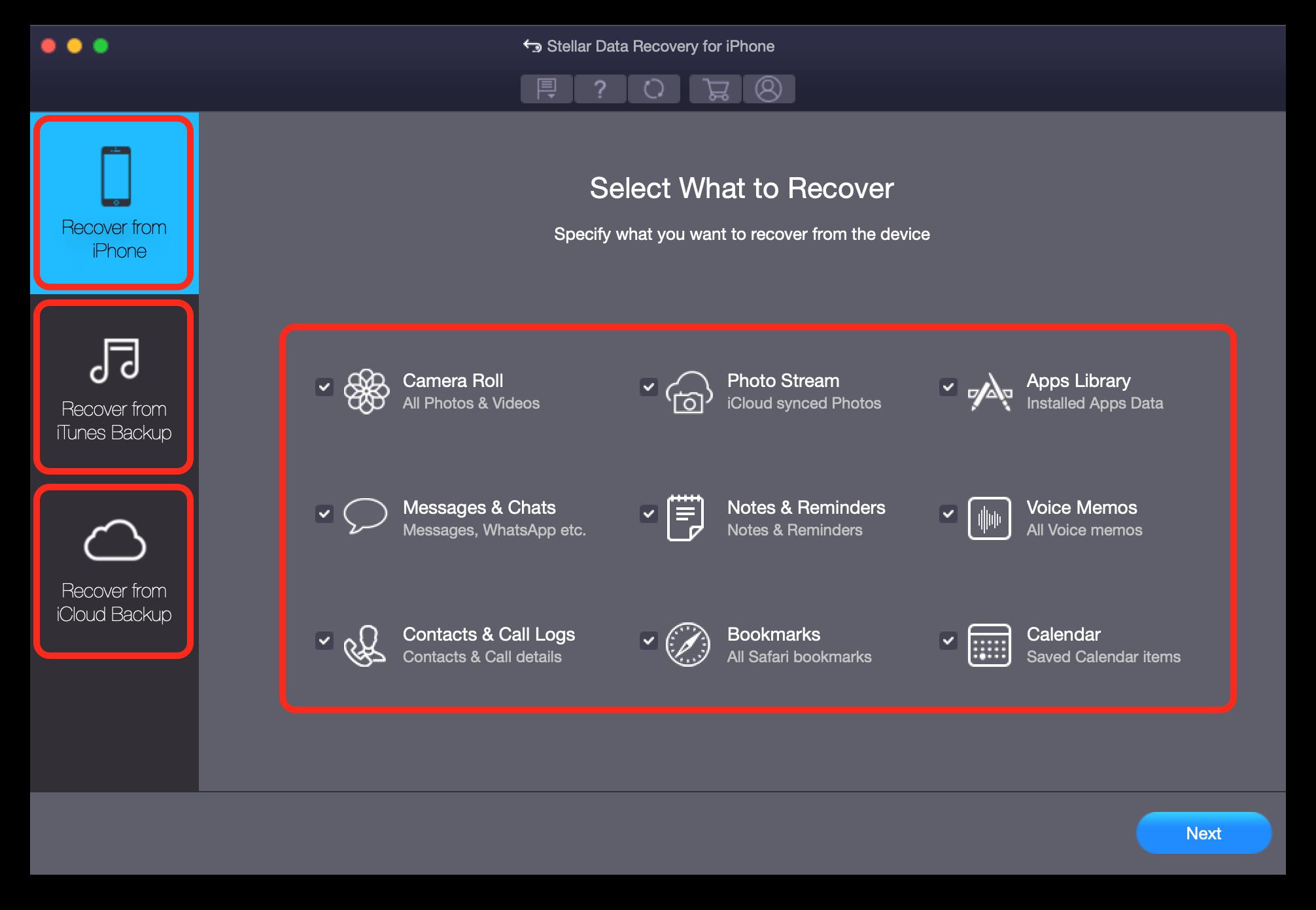 Datenrettungssoftware-Stellar-Menü Datenrettungssoftware von Stellar - gelöschte Daten auf iOS-Geräten wiederherstellen