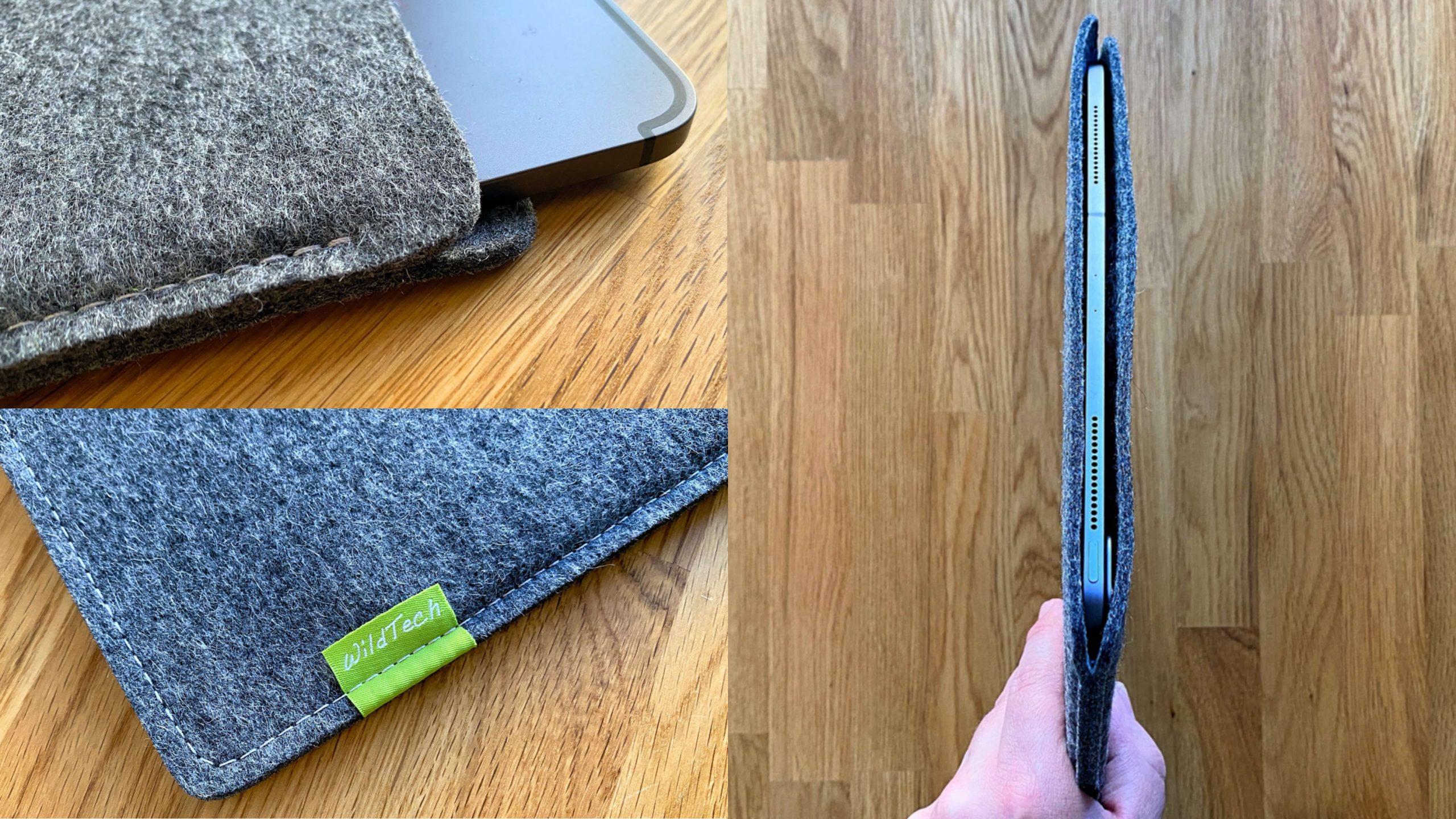 WildTech_Filzhülle_iPad_Pro_2020_Grau5-scaled Schutz aus Wollfilz von WildTech - das iPad Pro (2020) stilvoll geschützt